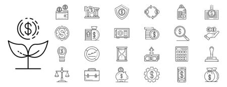 Deposit icons set, outline style