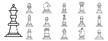 Chess icons set, outline style