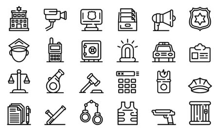 Police station icons set. Outline set of police station vector icons for web design isolated on white background