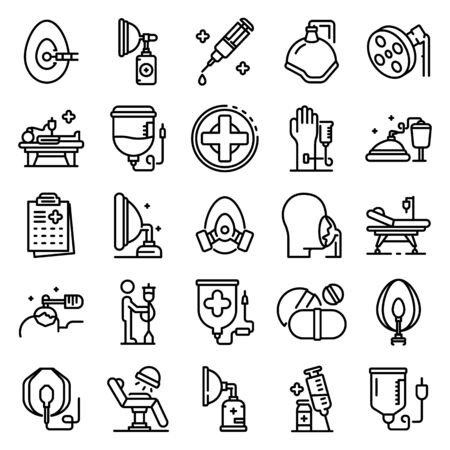 Anesthesia icons set, outline style