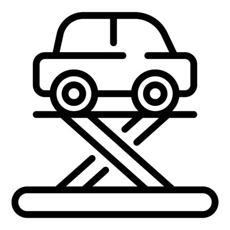 Car on a lift icon, outline style