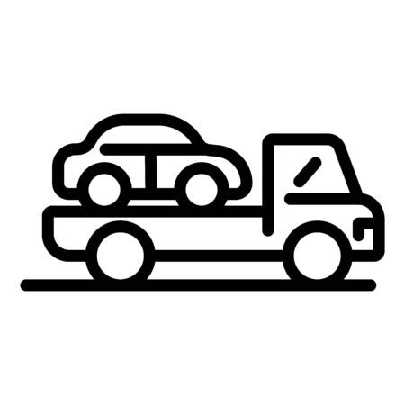 Car on a tow truck icon, outline style