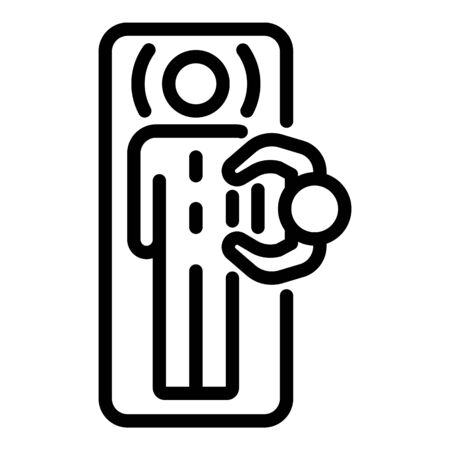 Back massage top view icon, outline style