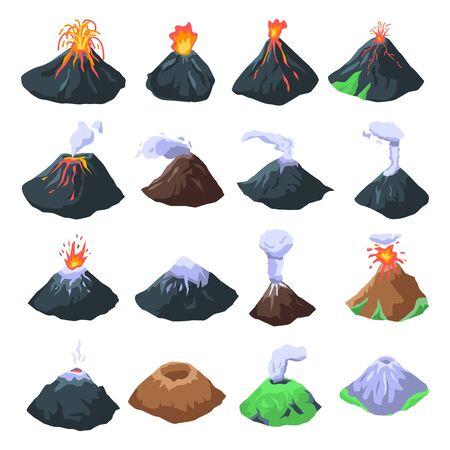 Conjunto de iconos de volcán, estilo isométrico