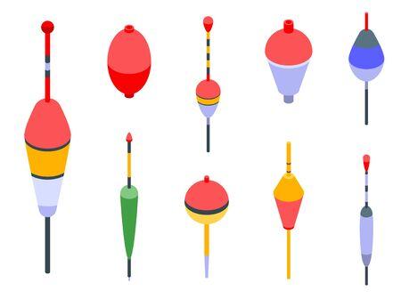 Bobber icons set, isometric style
