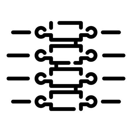 Vertebral column icon, outline style 向量圖像