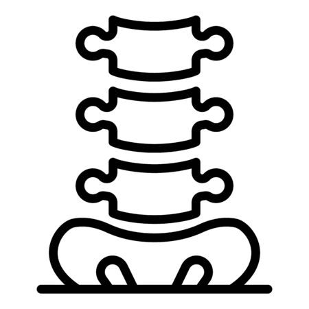 Tailbone and spine icon. Outline tailbone and spine vector icon for web design isolated on white background