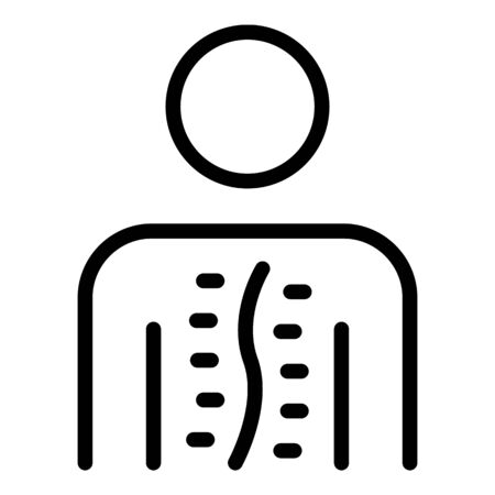 A person with scoliosis icon. Outline a person with scoliosis vector icon for web design isolated on white background