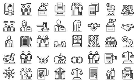 Divorce icons set, outline style