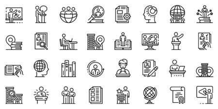 Internship icons set, outline style Illustration