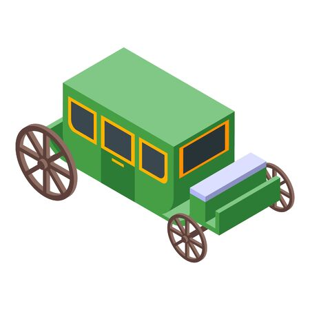 Green brougham icon. Isometric of green brougham vector icon for web design isolated on white background