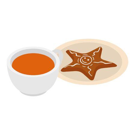 Gingerbread dessert icon, isometric style