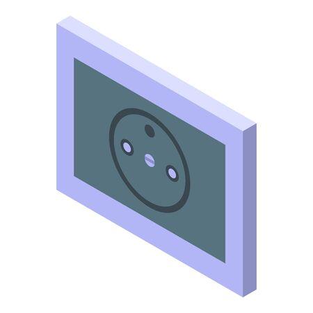 Black power socket icon, isometric style