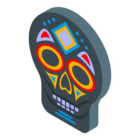 Mexican mask icon, isometric style