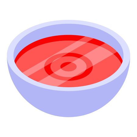 Red tomato soup icon. Isometric of red tomato soup vector icon for web design isolated on white background