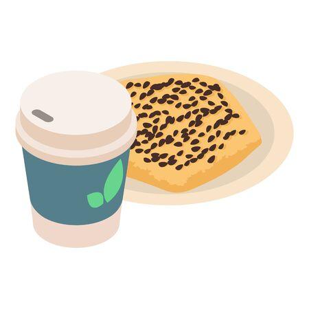Quick breakfast icon, isometric style Illustration