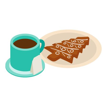 Christmas breakfast icon, isometric style Illusztráció