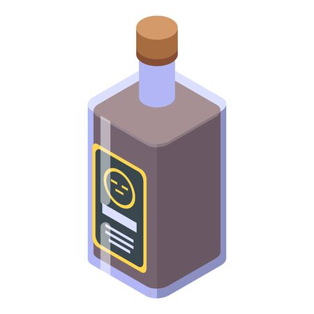 Whiskey bottle icon, isometric style