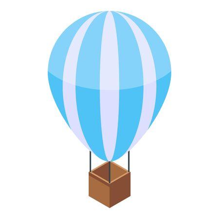Heißluftballon-Symbol. Isometrische der Heißluftballonvektorikone für das Webdesign lokalisiert auf weißem Hintergrund