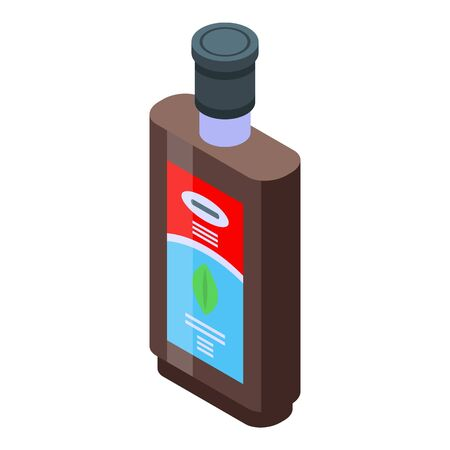 Cough syrup bottle icon, isometric style