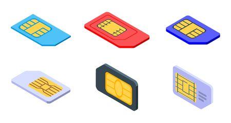 Sim phone card icons set, isometric style