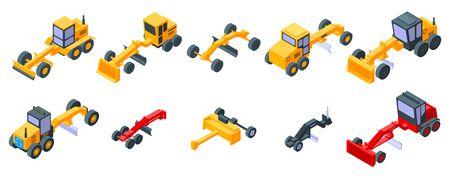Grader machine icons set, isometric style Vector Illustratie