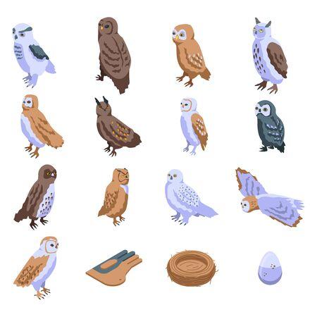 Owl icons set, isometric style Stockfoto - 139599730