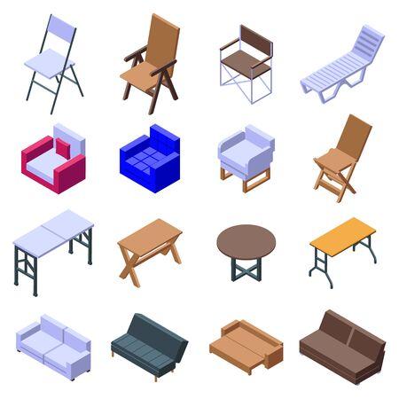 Folding furniture icons set. Isometric set of folding furniture vector icons for web design isolated on white background Stock Illustratie