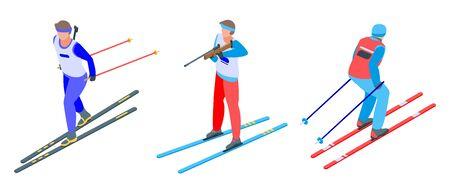 Biathlon icons set, isometric style Vettoriali