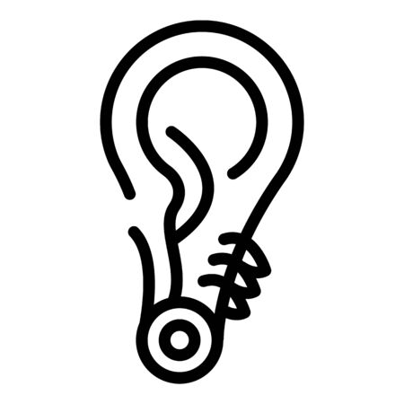 Ear metal piercing icon, outline style