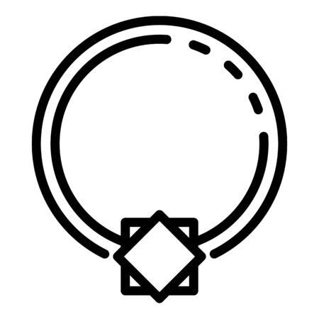 Crystal ring piercing icon, outline style 向量圖像