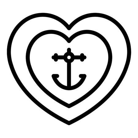 Tattoo anchor heart icon, outline style