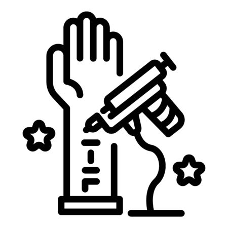 Tattoo drawn hand icon, outline style 向量圖像