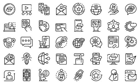 Backlink strategy icons set, outline style
