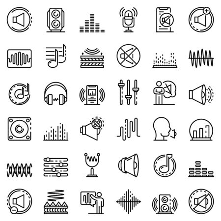 Acoustics icons set, outline style