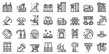 Industrial climber icons set, outline style