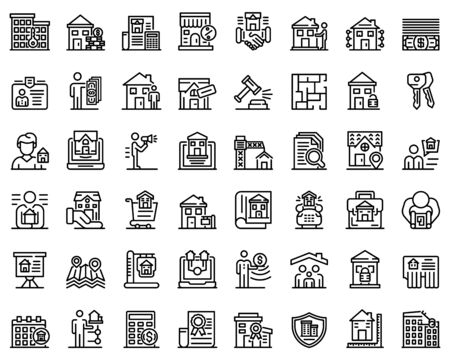 Realtor icons set, outline style