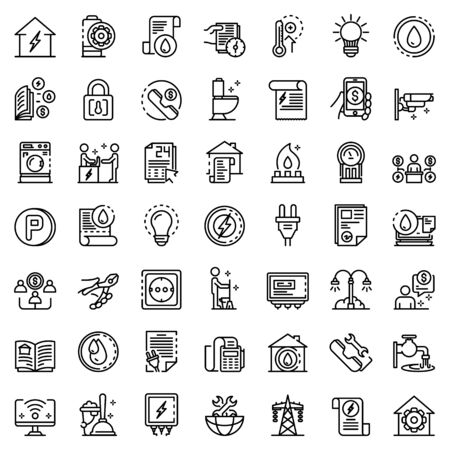 Utilities icons set, outline style