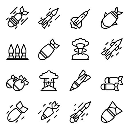 Missile attack icons set, outline style