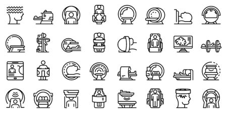 Magnetic resonance imaging icons set, outline style