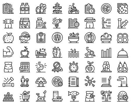 Nutritionist icons set, outline style Çizim
