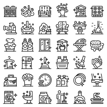 Cleaning services icons set, outline style Ilustrace