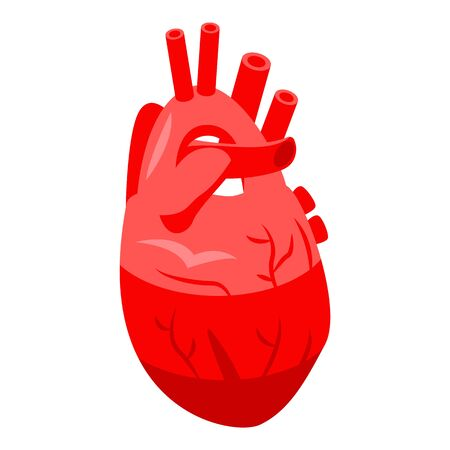 Red human heart icon, isometric style Illustration