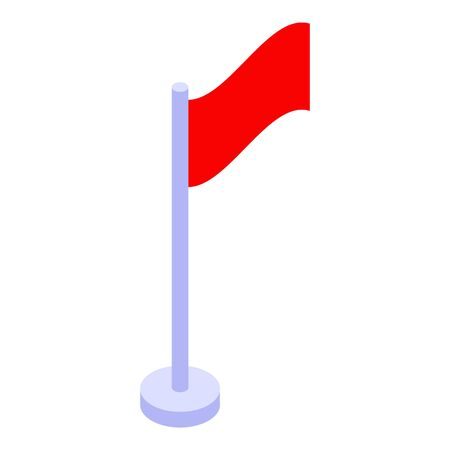 Red flag icon. Isometric of red flag vector icon for web design isolated on white background
