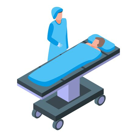 Hospital bed anesthesia icon, isometric style