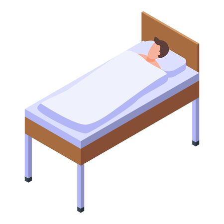 Hospital bed man icon, isometric style 일러스트