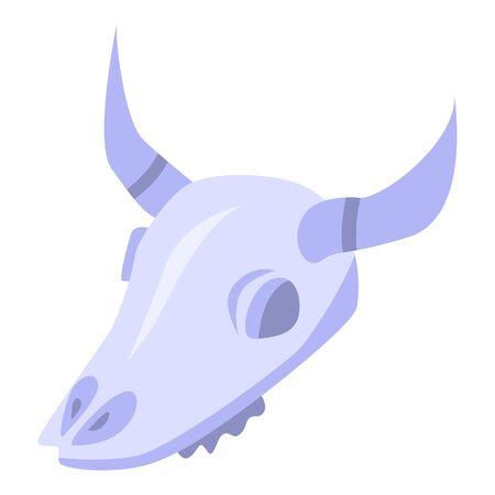 Cow skull icon, isometric style