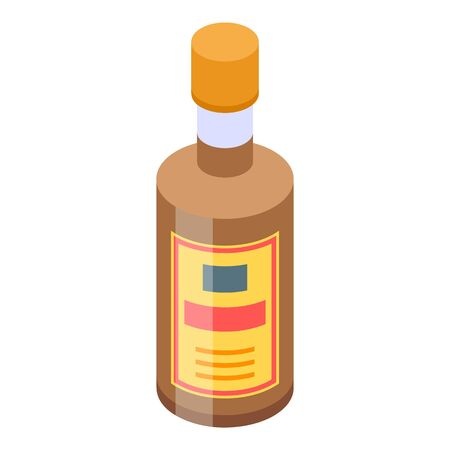 Whiskey bottle icon. Isometric of whiskey bottle vector icon for web design isolated on white background Иллюстрация
