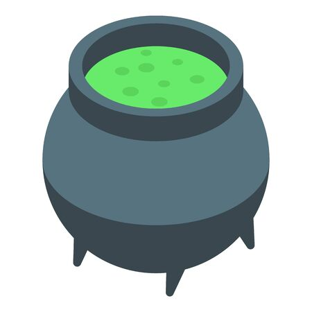 Potion cauldron icon, isometric style