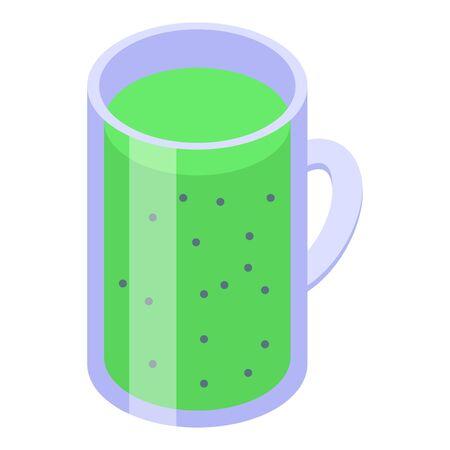Kiwi smoothie icon. Isometric of kiwi smoothie vector icon for web design isolated on white background